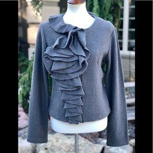 ♥️♥️Cynthia Rowley grey wool zip up sweater sz s